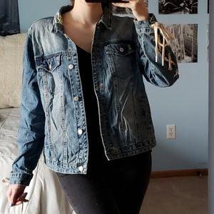 Hippie Laundry Lace-up Sleeve Denim Jacket